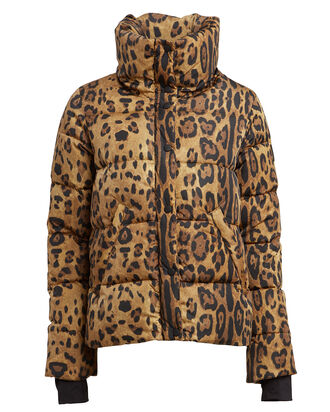 Isabel Leopard Puffer Jacket, BROWN, hi-res