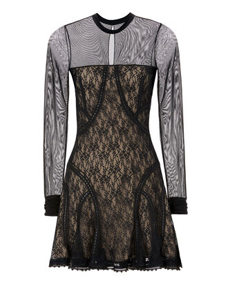 Lace Paneled Dress, BLACK, hi-res