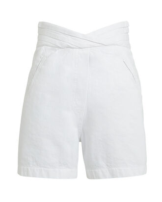 Ellena High-Rise Denim Shorts, WHITE, hi-res