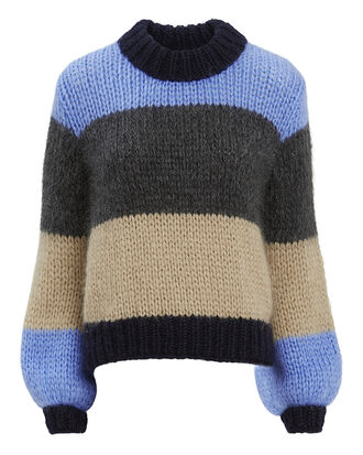 Julliard Colorblock Blue Striped Sweater, MULTI, hi-res