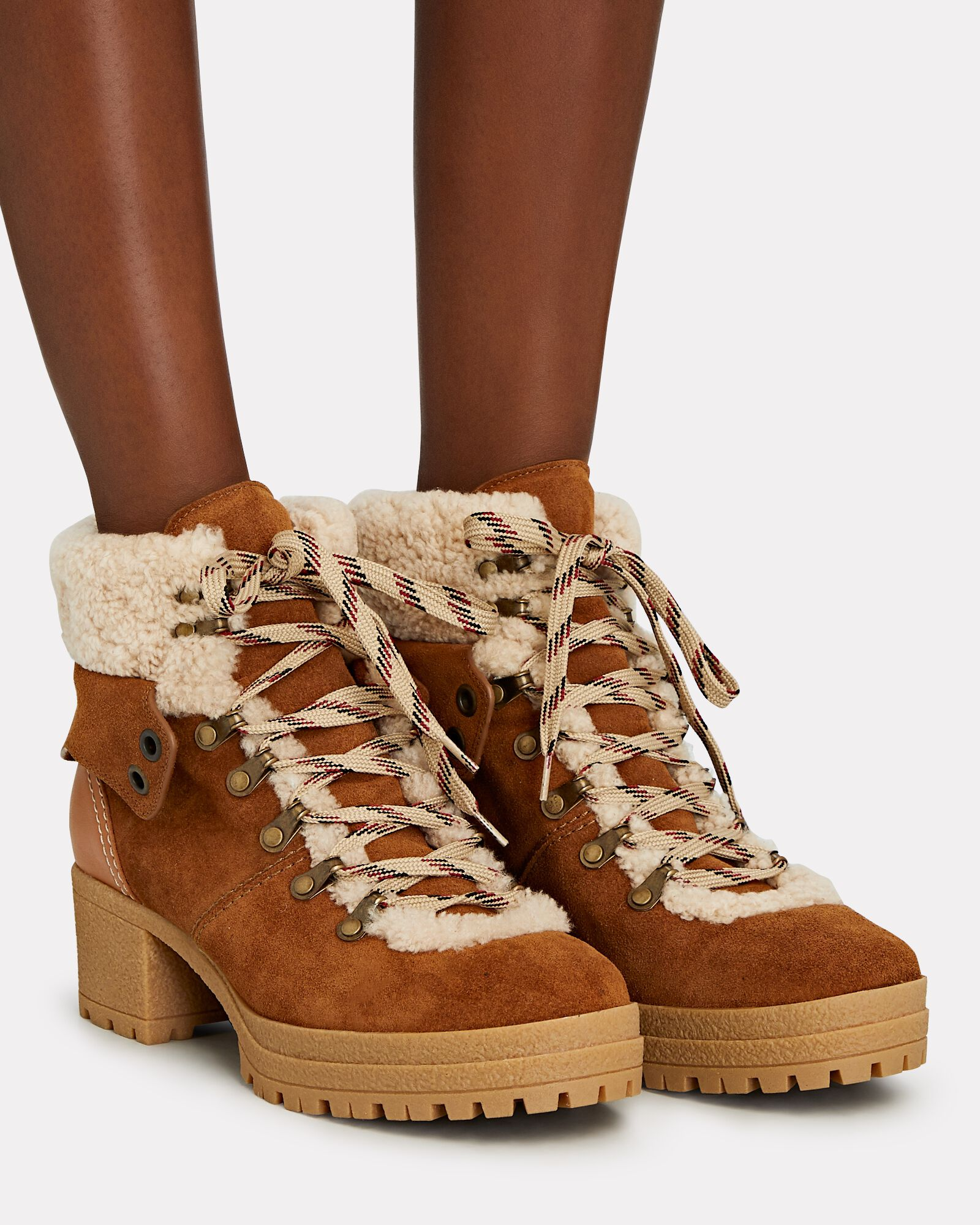 Eileen Shearling-Trimmed Ankle Boots, LIGHT BROWN, hi-res