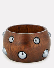 Bead Embellished Wooden Cuff, BROWN, hi-res