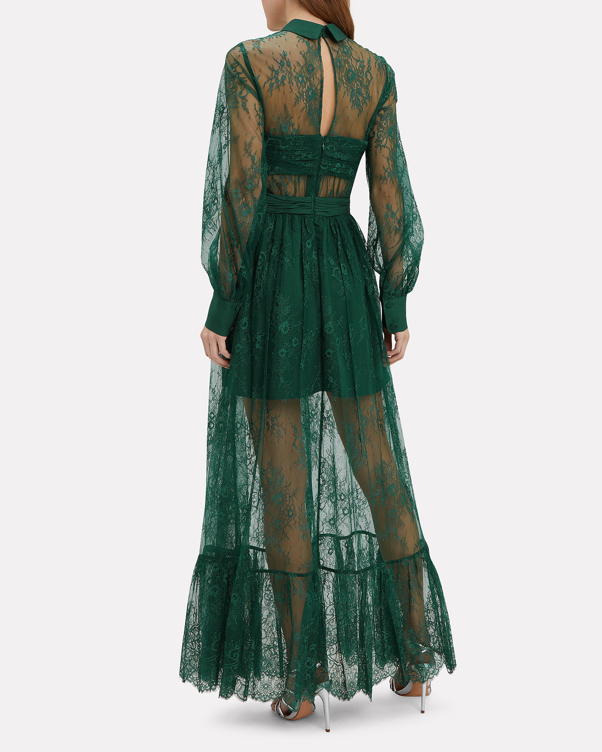 Floral Lace Maxi Dress, GREEN, hi-res
