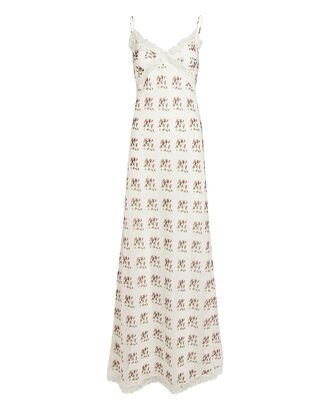 Rose Printed Silk-Cotton Slip Dress, WHITE, hi-res