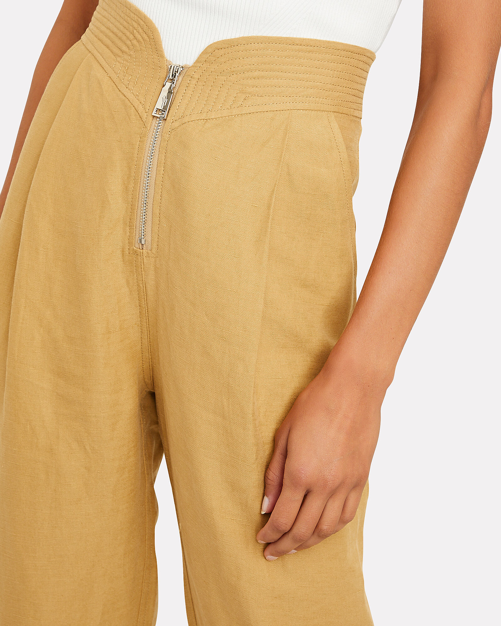 High-Rise Linen Trousers, BROWN, hi-res