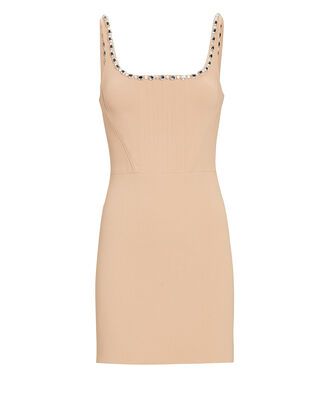 Crystal Strap Crepe Mini Dress, BEIGE, hi-res