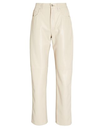 Vinni Vegan Leather Straight-Leg Pants, IVORY, hi-res