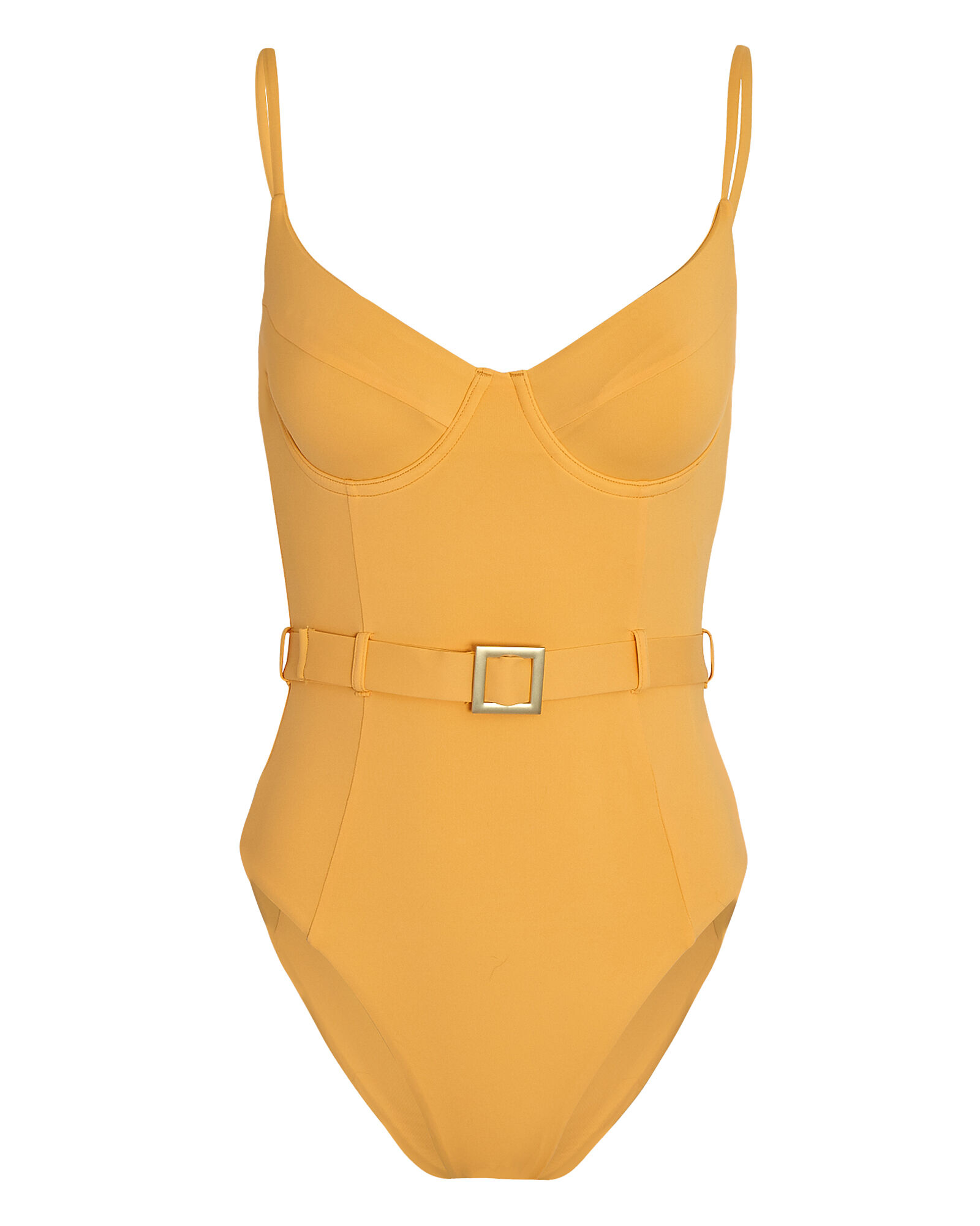 Danielle Belted One-Piece Swimsuit, YELLOW, hi-res