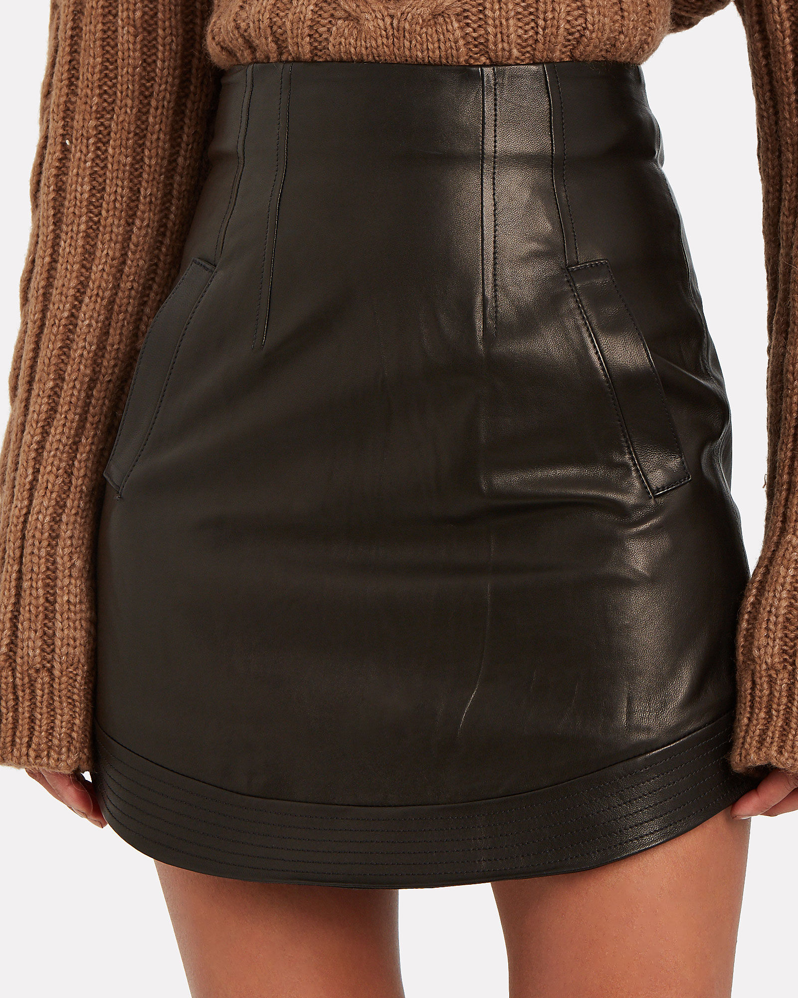 Reggie Leather Mini Skirt, BLACK, hi-res
