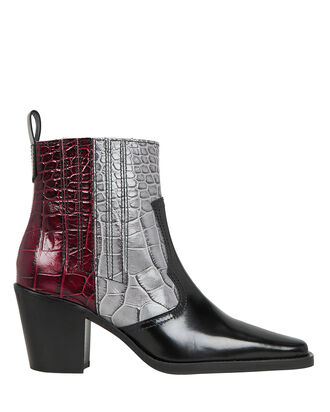 Two Tone Western Booties, MULTI, hi-res