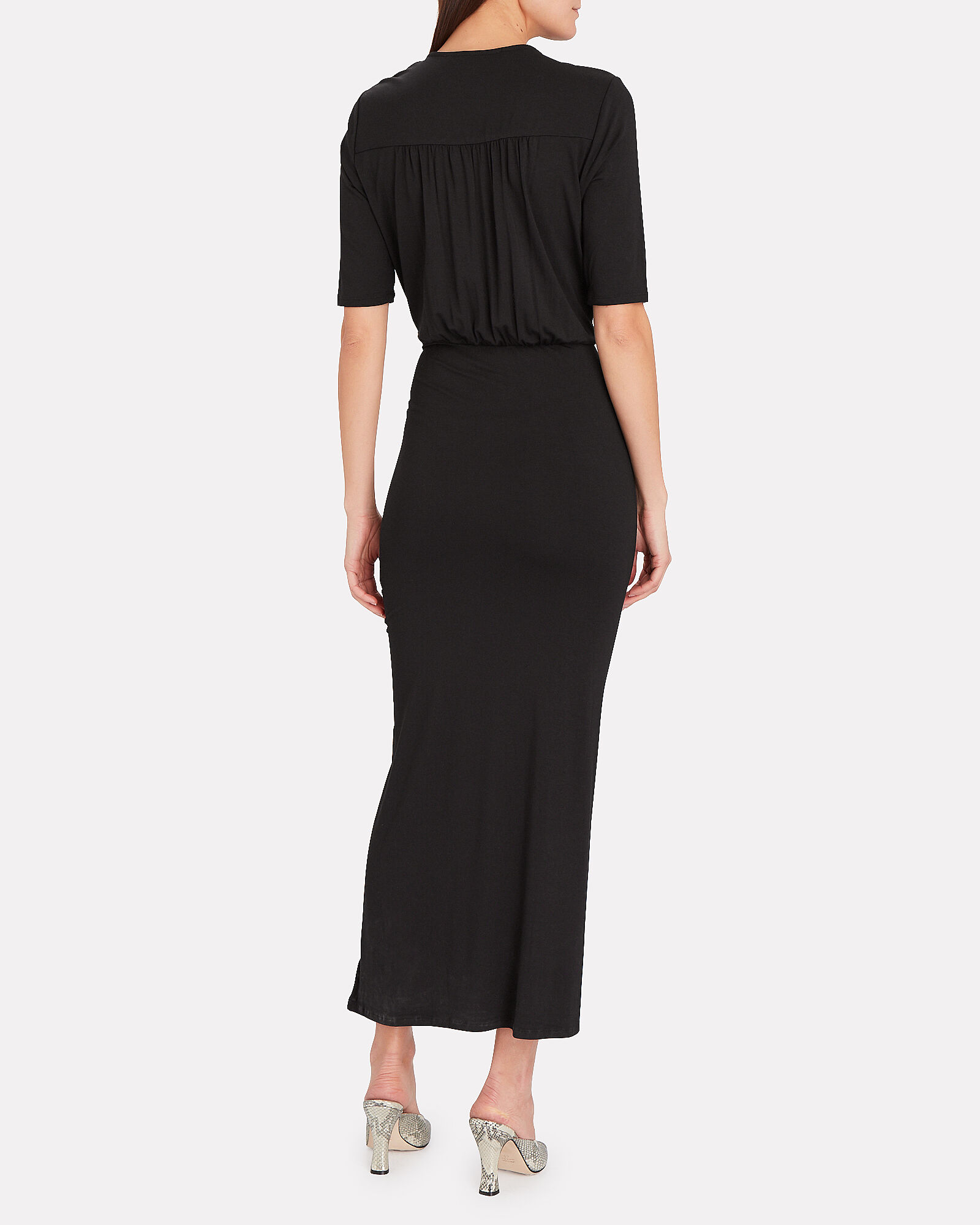 Mariposa Ruched Jersey Dress, BLACK, hi-res