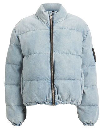 Bleached Denim Puffer Jacket, LIGHT WASH DENIM, hi-res