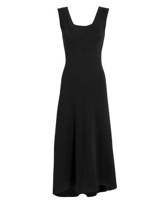 Double-Faced Wool Midi Dress, BLACK, hi-res