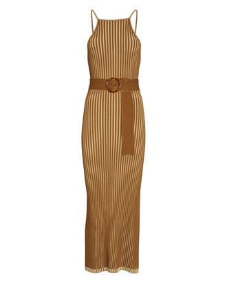 Lily Belted Knit Midi Dress, BROWN, hi-res