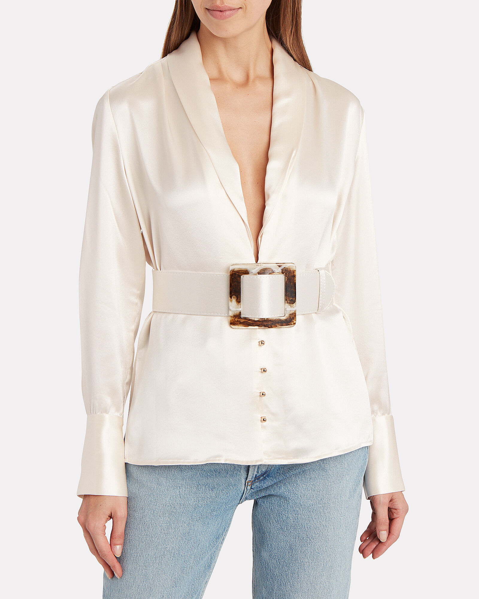 Sahra Belted Button Down Top, IVORY, hi-res