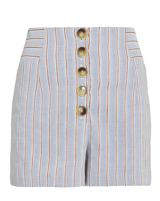 Delany Striped Linen High Waist Shorts, BLUE-LT, hi-res