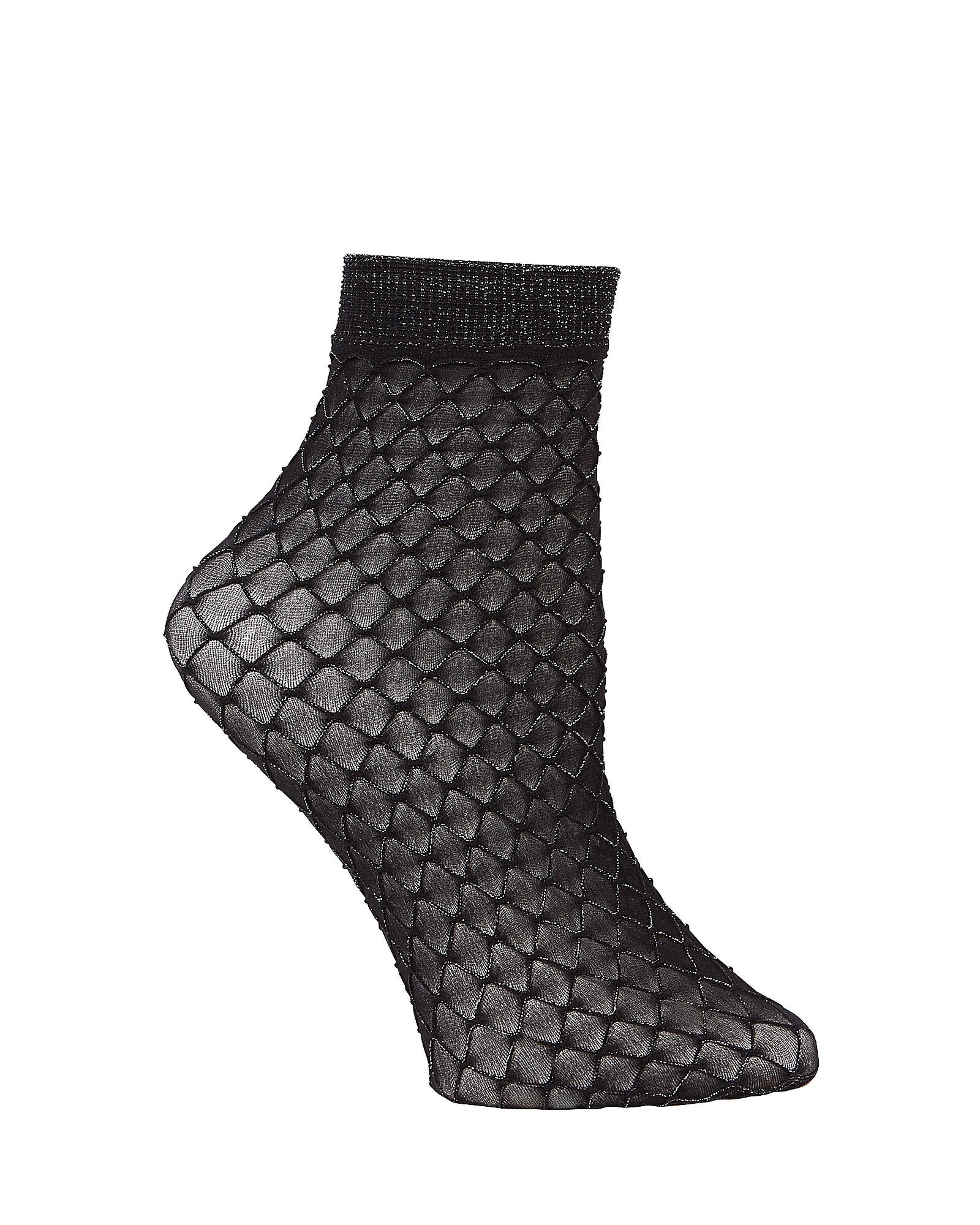 Metallic Double Net Socks, METALLIC BLACK, hi-res