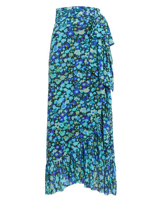 Floral Mesh Wrap Skirt, AZURE BLUE, hi-res