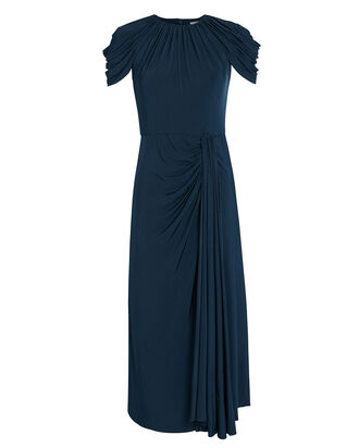 Jersey Cap Sleeve Pleated Dress, NAVY, hi-res
