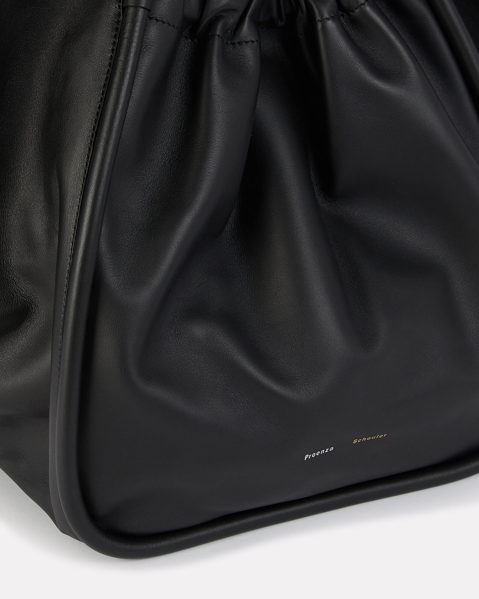 Ruched XL Leather Tote, BLACK, hi-res
