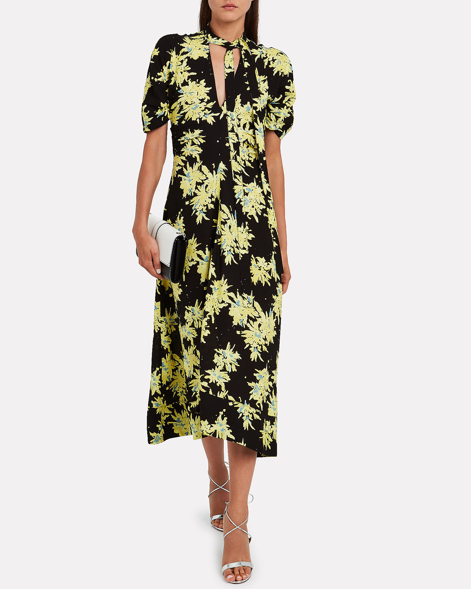 Splatter Floral Tie Neck Dress, YELLOW, hi-res