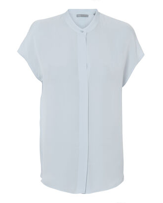 Popover Slit Back Blouse, BLUE-LT, hi-res