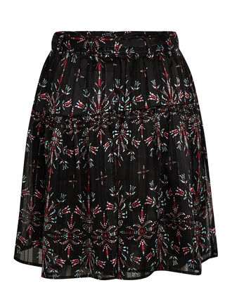 Jezebel Printed Mini Skirt, BLACK, hi-res