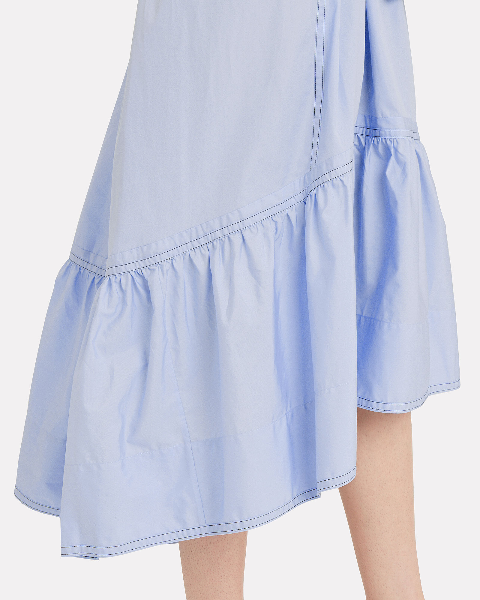 Cotton Poplin A-Line Dress, BLUE, hi-res