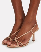 Entwined Leather Strappy Sandals, BEIGE, hi-res