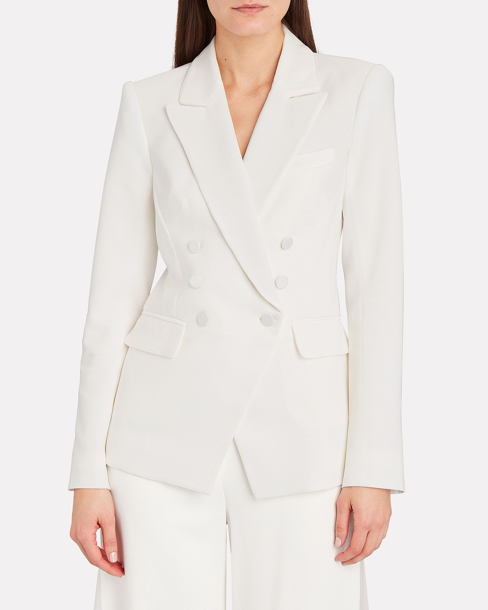 Double-Breasted Crepe Blazer, WHITE, hi-res
