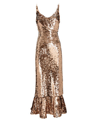 Aidan Sequin Midi Dress, GOLD, hi-res