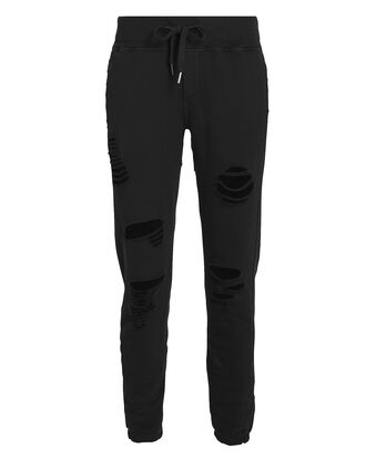 Sayde Distressed French Terry Sweatpants, BLACK, hi-res