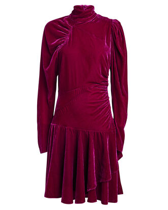 No. 25 Velvet Puff Sleeve Dress, FUCHSIA, hi-res