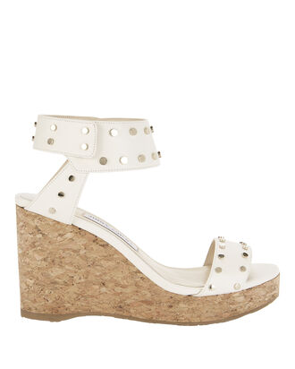 Nelly Leather Wedge Sandals, WHITE, hi-res
