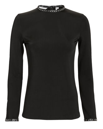 Studded Jersey Knit Top, BLACK, hi-res