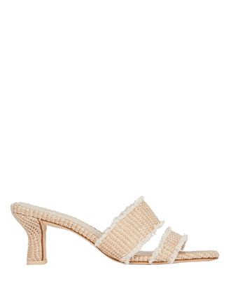 Fae Raffia Slide Sandals, BEIGE, hi-res