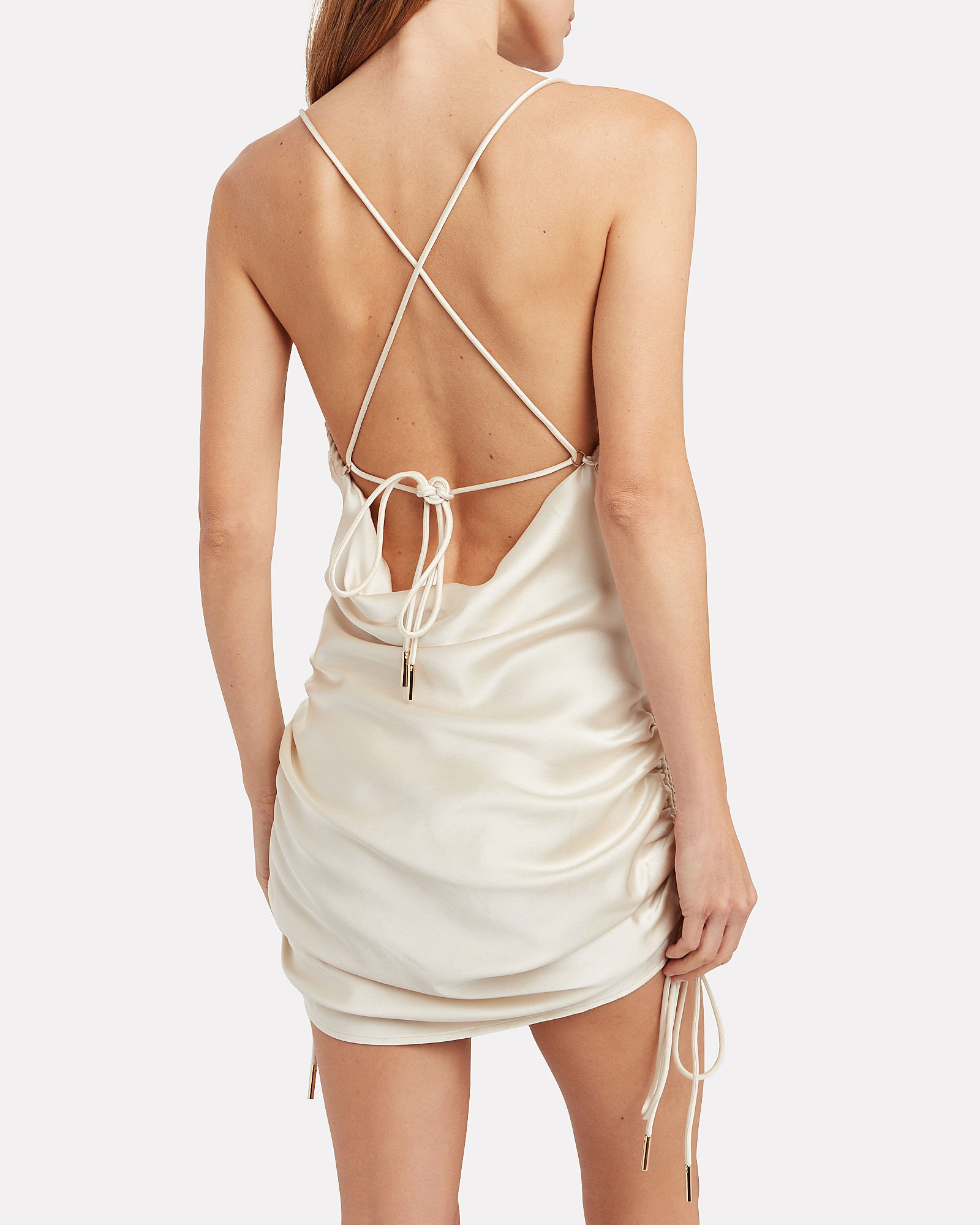 Dusk Ruched Satin Slip Dress, IVORY, hi-res