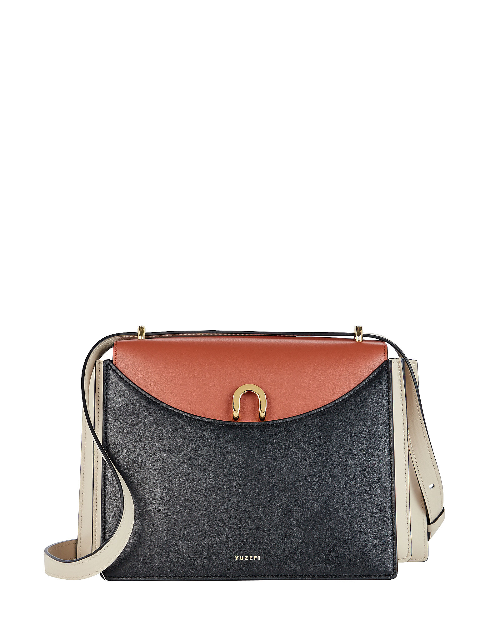 Eloise Leather Accordion Bag, BLACK/CAMEL/IVORY, hi-res