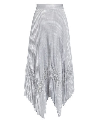 Liz Pleated Midi Skirt, SILVER, hi-res
