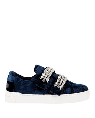 Crystal Strap Velvet Low-Top Sneakers, BLUE, hi-res