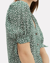 Gizela Floral Silk Shirt, GREEN, hi-res