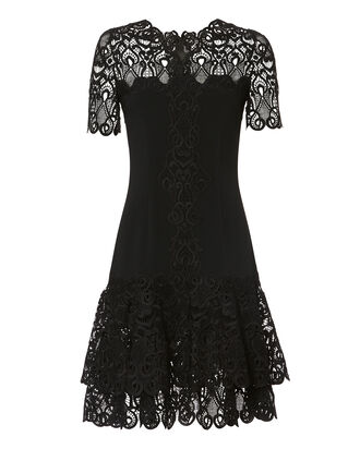 Lace Appliqué Crepe Black Mini Dress, BLACK, hi-res