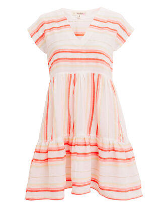 Fiesta Stripe Mini Dress, WHITE/ORANGE/GOLD, hi-res