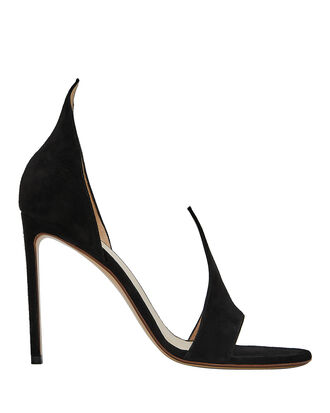 Cutout Suede Sandals, BLACK, hi-res