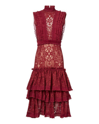 Tower Mesh Lace Ruffled Dress, RED, hi-res