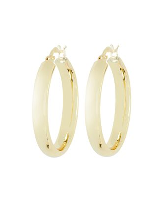 Thick Hollow Hoop Earrings, GOLD, hi-res