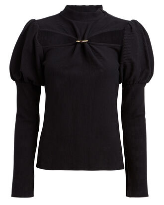 Mora Rib Knit Puff Sleeve Top, BLACK, hi-res
