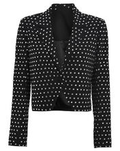 Crystal-Embellished Cropped Blazer, BLACK, hi-res