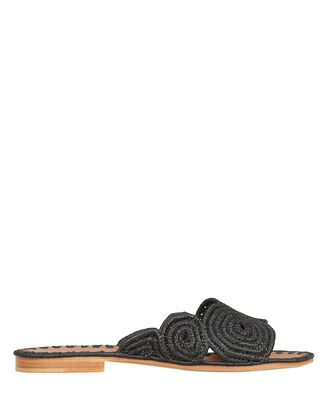 Miringi Flat Raffia Sandals, BLACK, hi-res