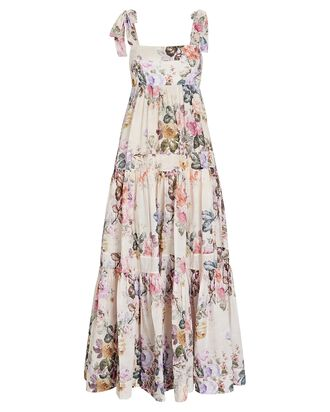 Brighton Tie-Shoulder Floral Midi Dress, CREAM/PINK, hi-res